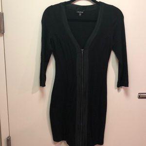 Zip Front Satin Detail Dress